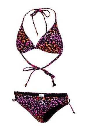 triangel bikini Bodile met panterprint zwart/roze/oranje