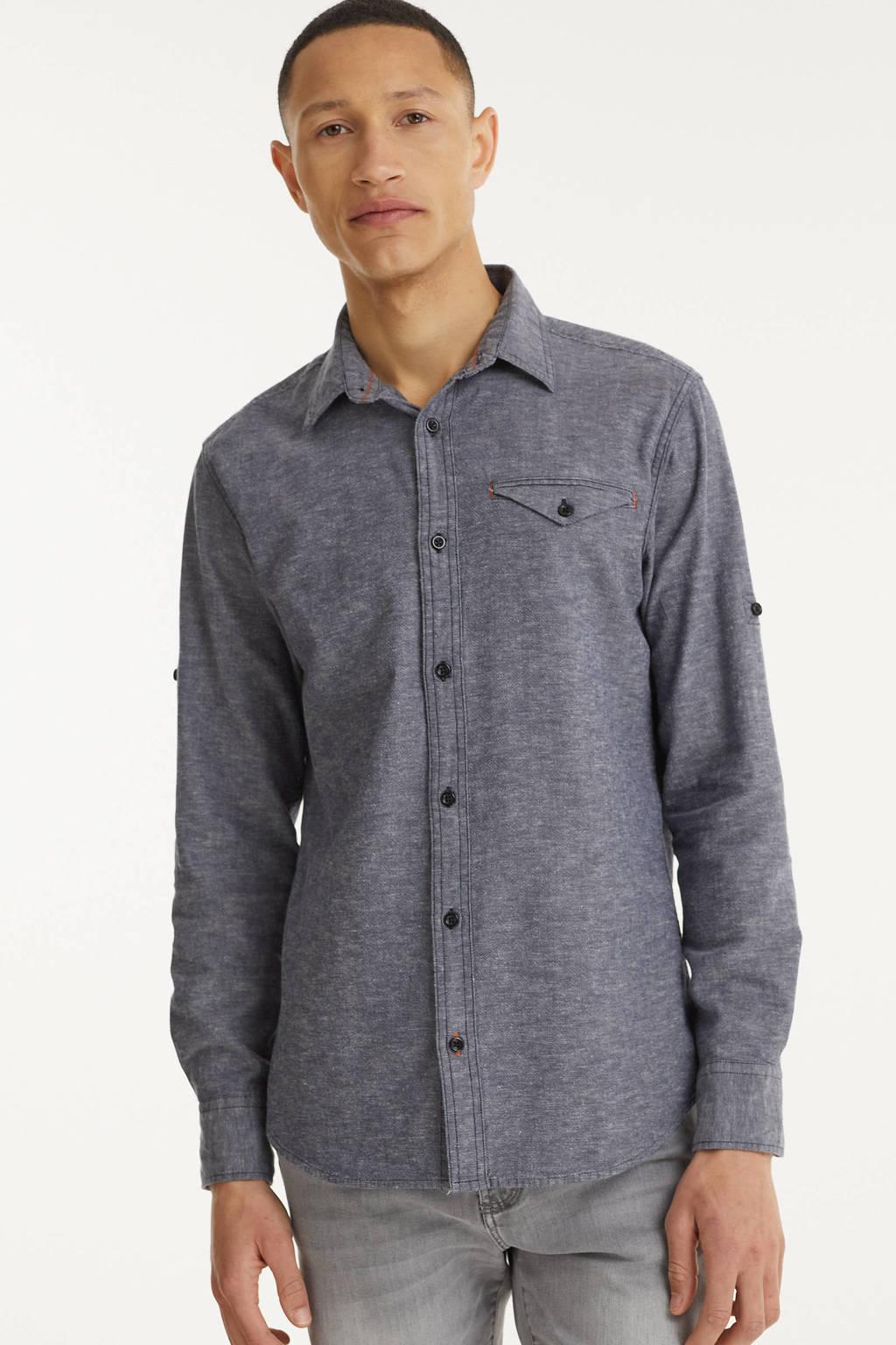 JACK & JONES ORIGINALS gemêleerd slim fit overhemd Fort donkerblauw, Donkerblauw