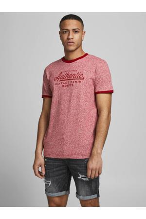 T-shirt met printopdruk rood melange