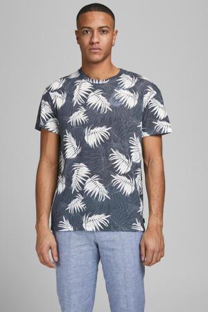 T-shirt Baker met bladprint blauw
