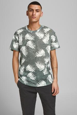 T-shirt Baker met bladprint grijsgroen