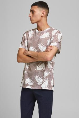 T-shirt Baker met bladprint oudroze