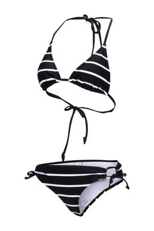 gestreepte triangel bikini Bodile zwart/wit