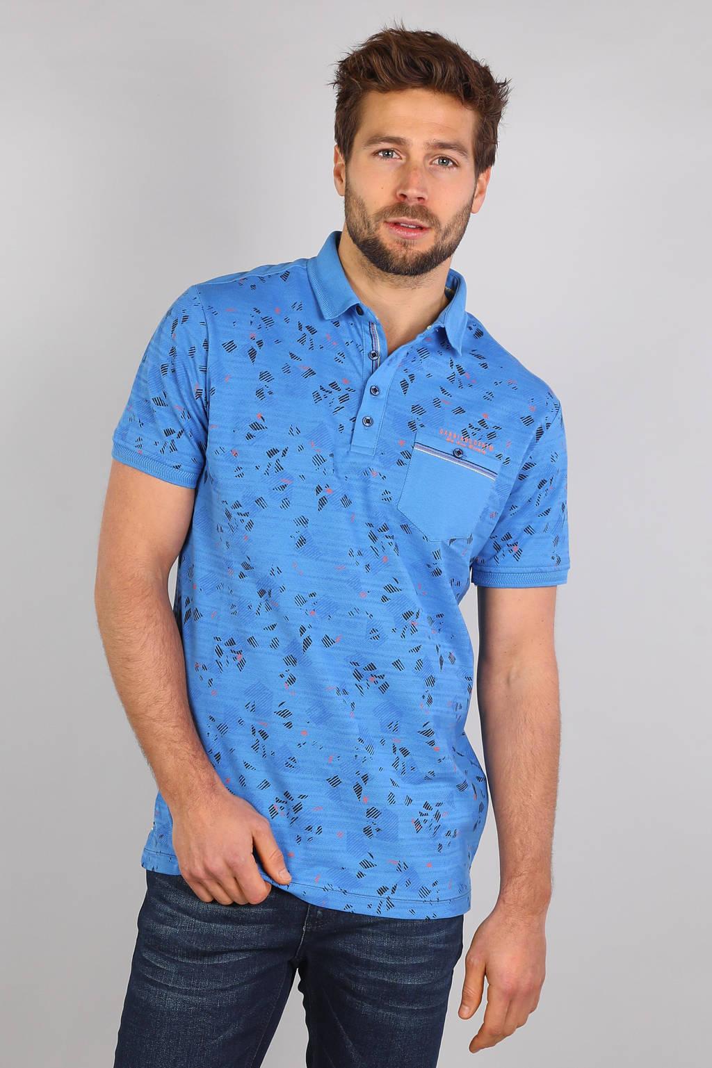GABBIANO regular fit polo met all over print niagara blue, Niagara Blue