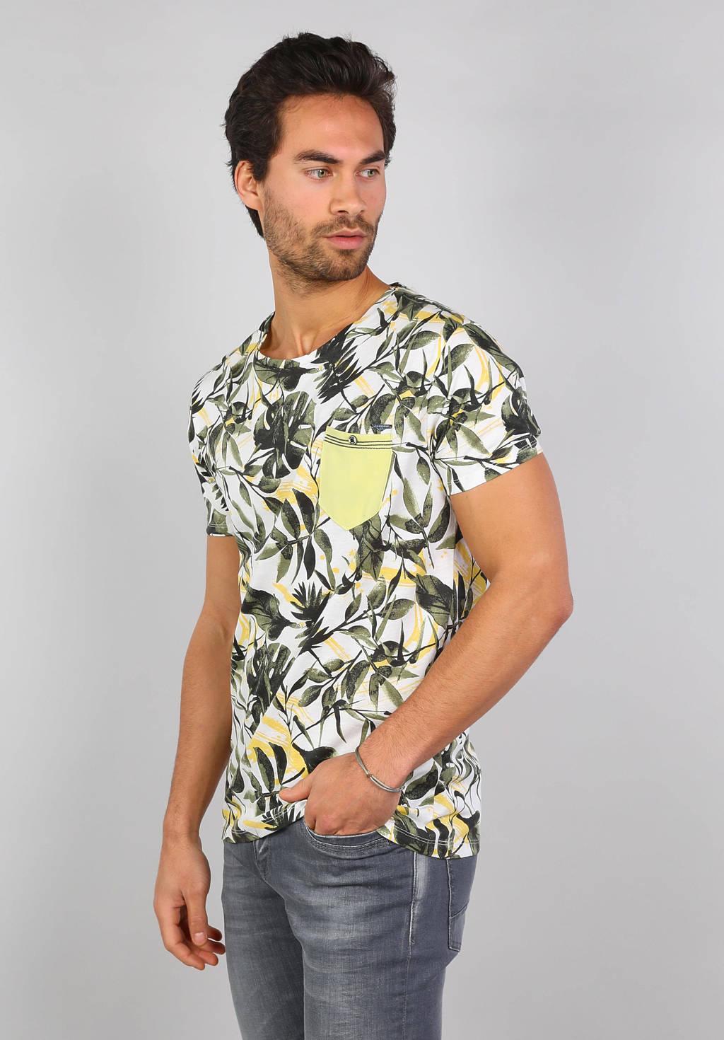 GABBIANO T-shirt met bladprint wit/lichtgeel/kaki, Wit/lichtgeel/kaki