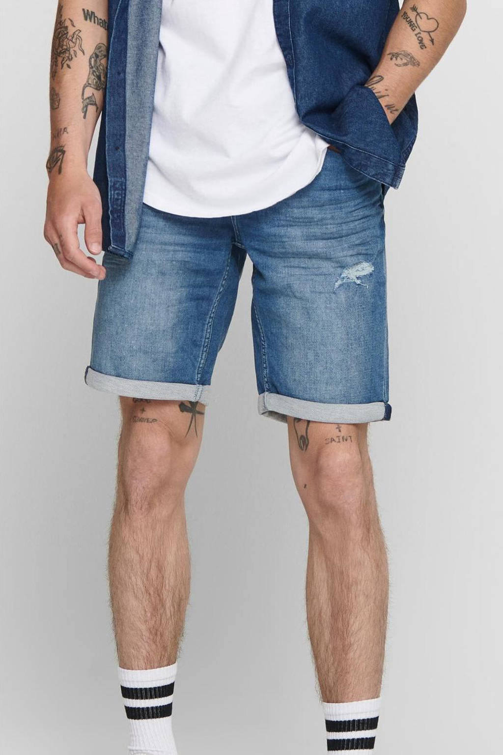 ONLY & SONS regular fit jeans short Ply donkerblauw, Donkerblauw