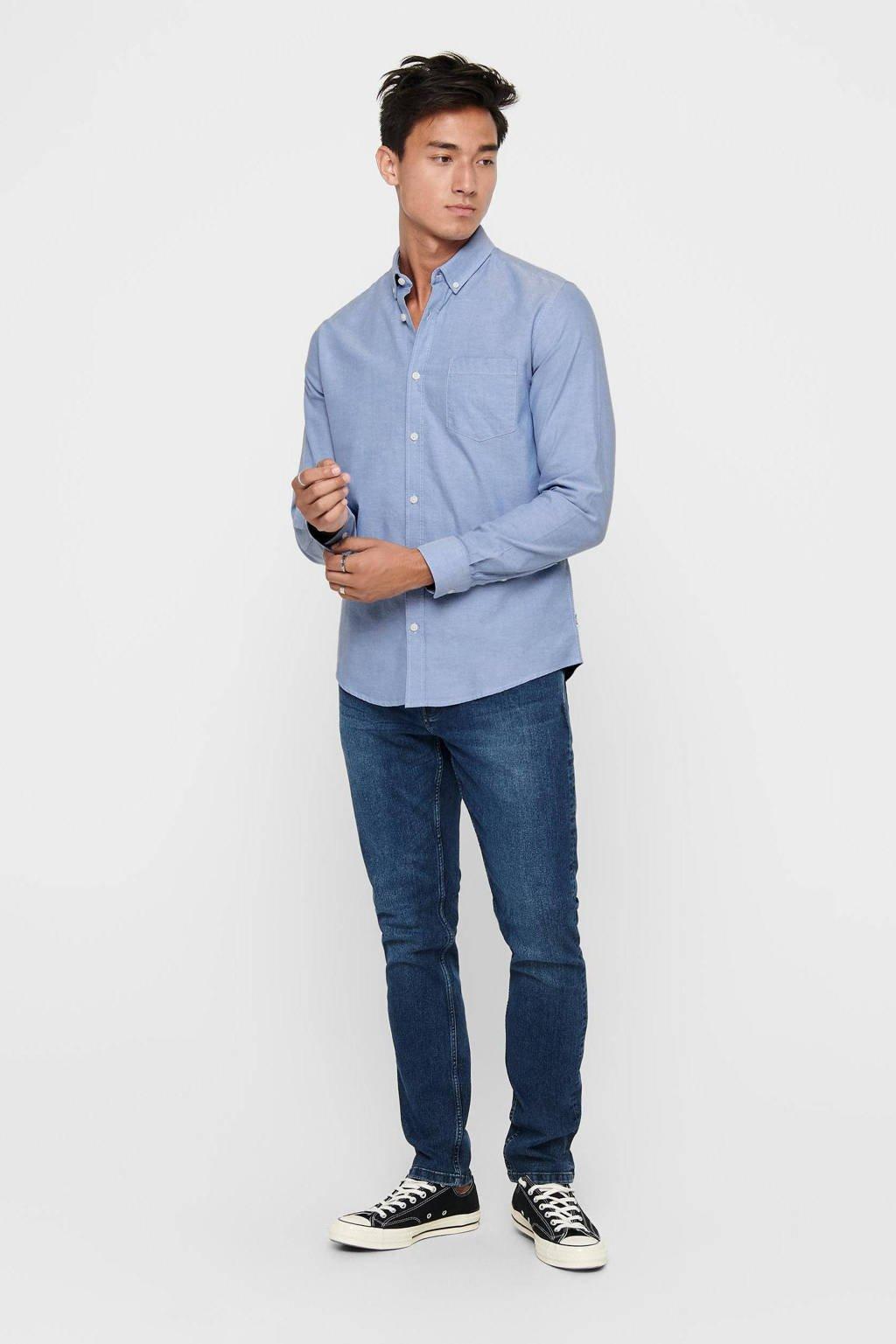 ONLY & SONS regular fit overhemd Alvaro blauw, Blauw