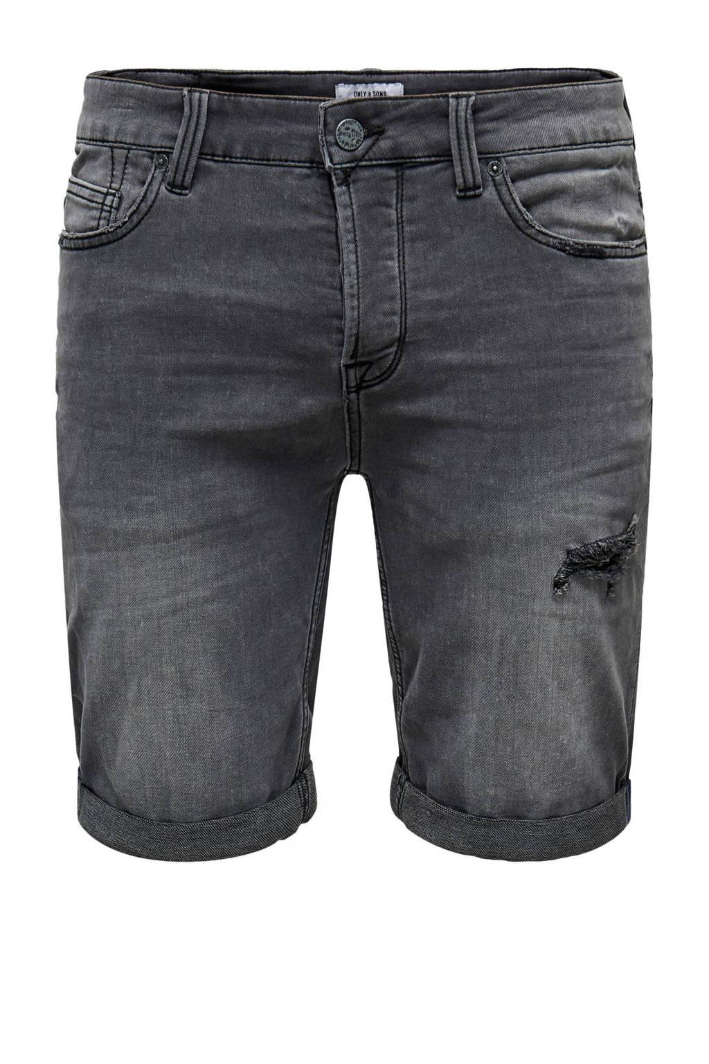 ONLY & SONS regular fit jeans short Ply grijs, Grijs