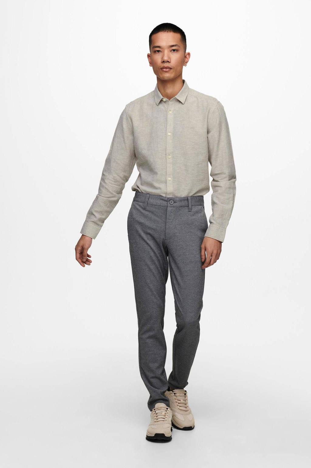 ONLY & SONS regular fit overhemd Caiden lichtbruin, Lichtbruin