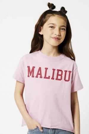 T-shirt Eilish met tekst roze