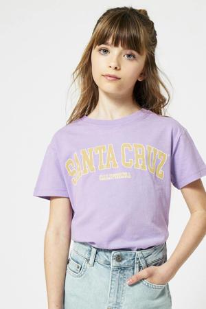 T-shirt Eilish met tekst lila/geel