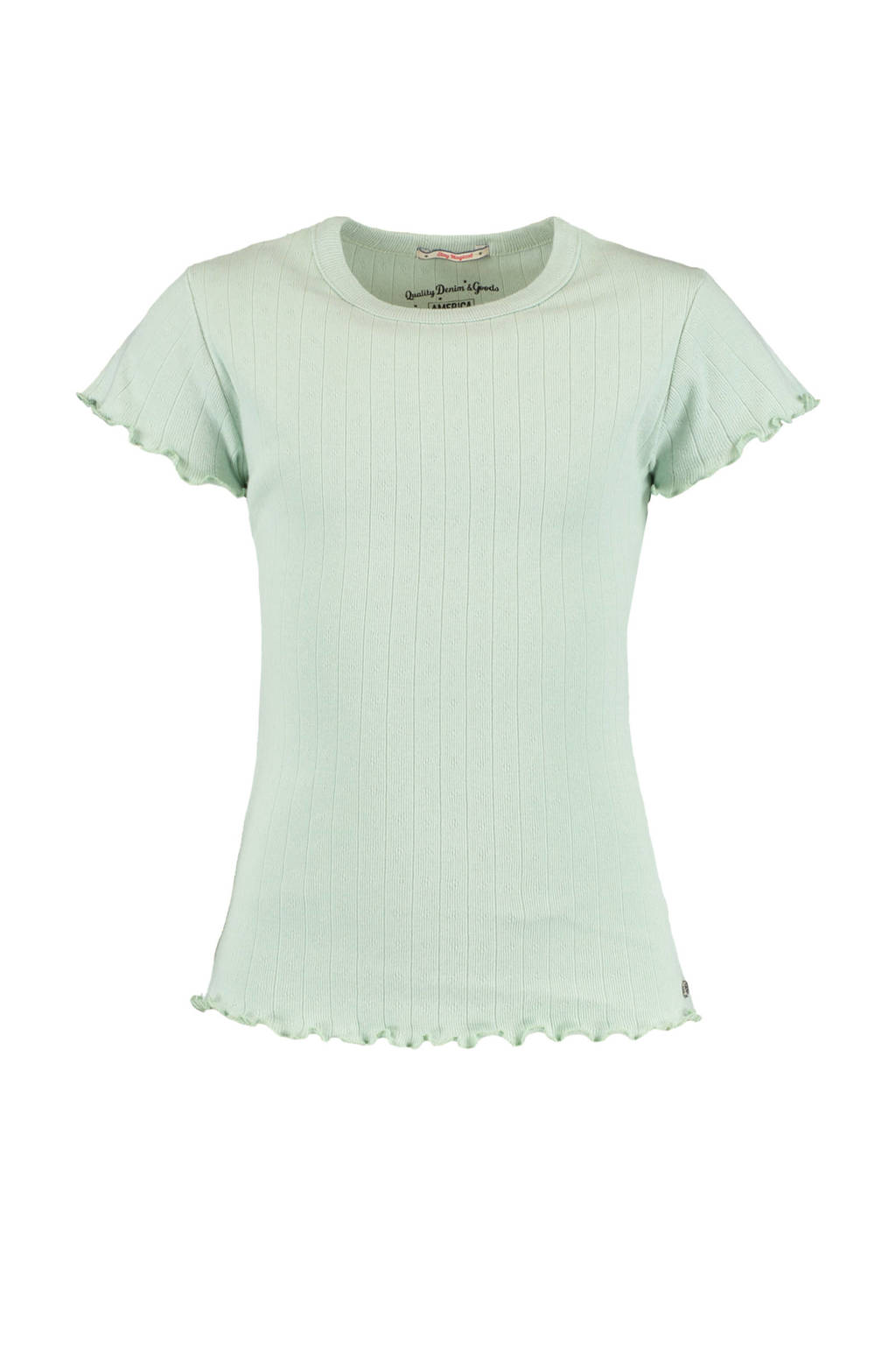 America Today Junior T-shirt Elodie met all over print en ruches mintgroen, Mintgroen