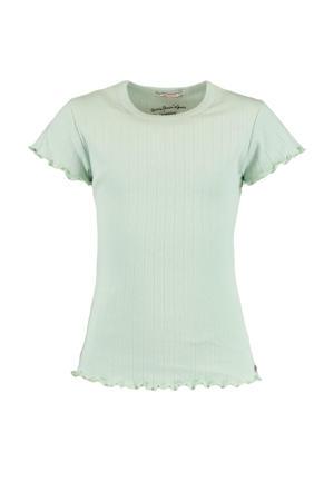 T-shirt Elodie met all over print en ruches mintgroen
