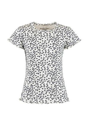 T-shirt Elodie met all over print en ruches wit/zwart