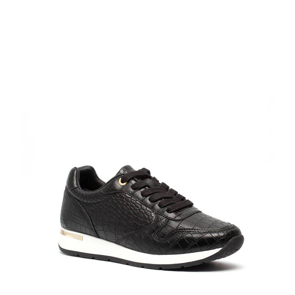 Scapino Blue Box   sneakers met crocoprint zwart, Zwart