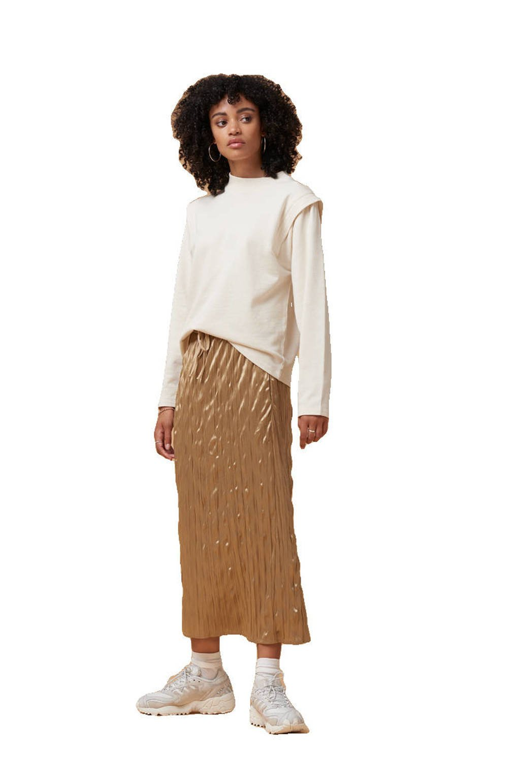 Another-Label trui Kasuga met plooien gebroken wit, Gebroken wit