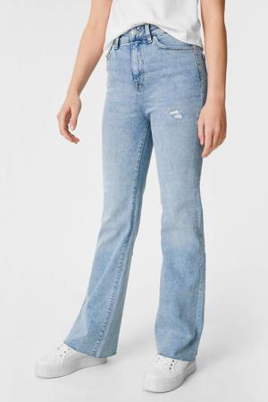 high waist flared jeans lichtblauw