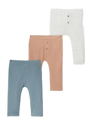 geribde baby joggingbroek - set van 3 blauw/ecru/bruin