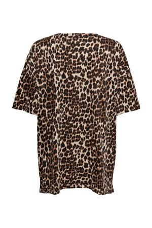 T-shirt ONLMAYA met panterprint bruin/zwart