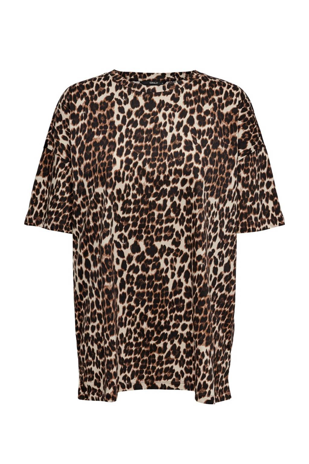 ONLY T-shirt ONLMAYA met panterprint bruin/zwart, Bruin/zwart