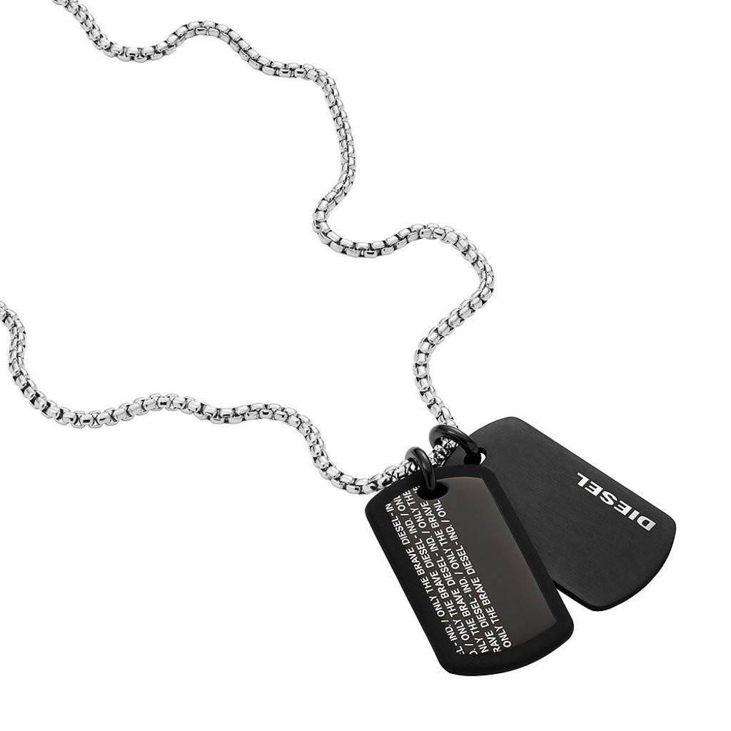 Diesel collier DX1287040 Double Dogtags zwart, Zwart