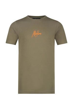 T-shirt met logo army groen/oranje