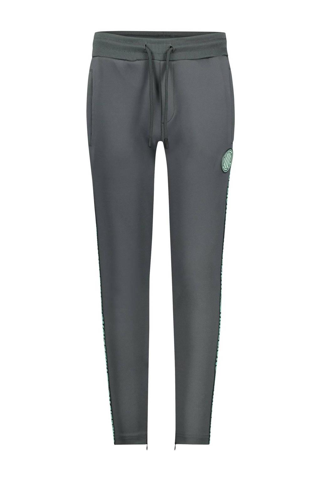 Malelions skinny joggingbroek met zijstreep antraciet/mintgroen, Antraciet/mintgroen