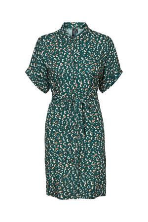blousejurk VMZANDRA  met all over print en ceintuur groen