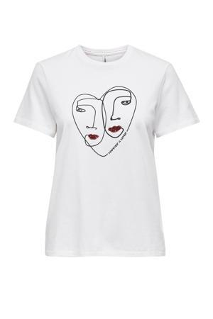 T-shirt ONLKITA met printopdruk wit