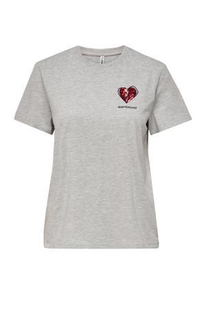 T-shirt ONLKITA met printopdruk en pailletten grijs