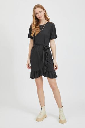 jurk VIKALIE met ruches zwart