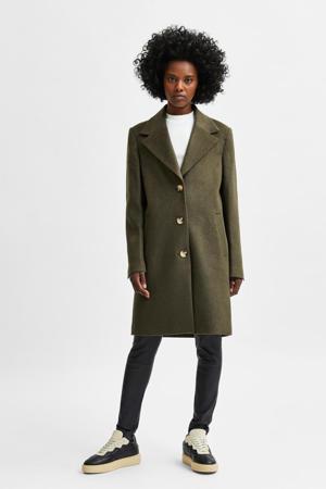 coat SLFNEW met wol groen