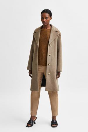 coat SLFMILAN met wol bruin