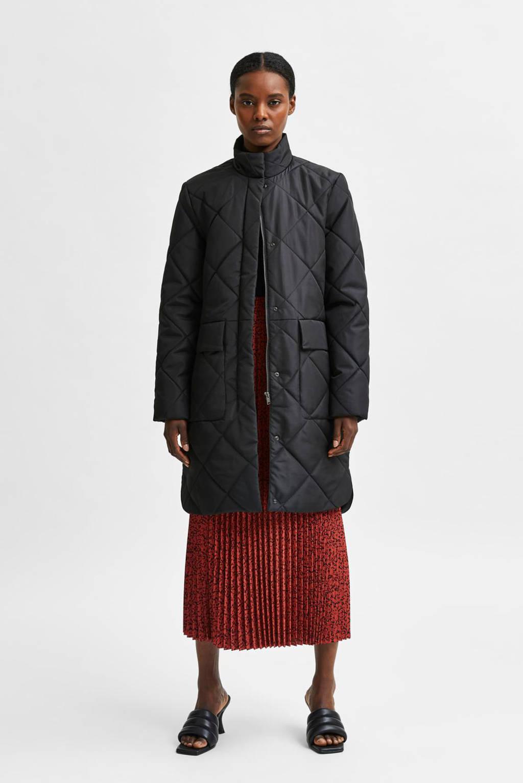 SELECTED FEMME gewatteerde jas SLFNADDY van gerecycled polyester zwart, Zwart