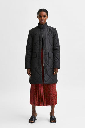 gewatteerde jas SLFNADDY van gerecycled polyester zwart