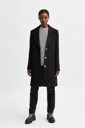 coat SLFNEW met wol zwart