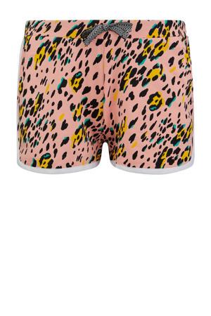 slim fit short Marjel met panterprint roze/geel/zwart