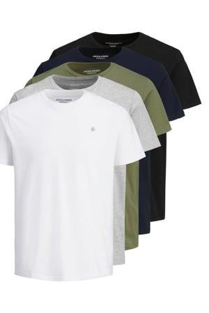 T-shirt JORJXJ  (set van 5) wit/grijs/groen/blauw/zwart