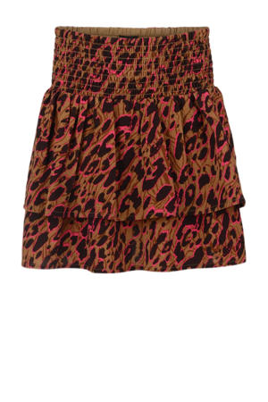 rok Bondy met all over print bruin/roze/zwart
