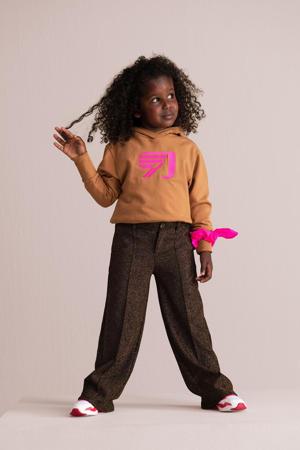 hoodie Buffy met printopdruk camel/roze