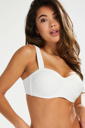 bandeau bikinitop Libby met textuur wit