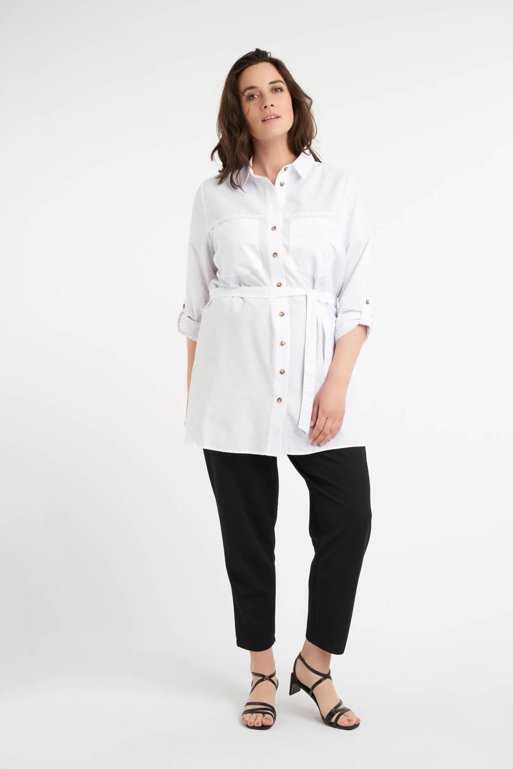 MS Collection jasje met knoopceintuur wit, Wit