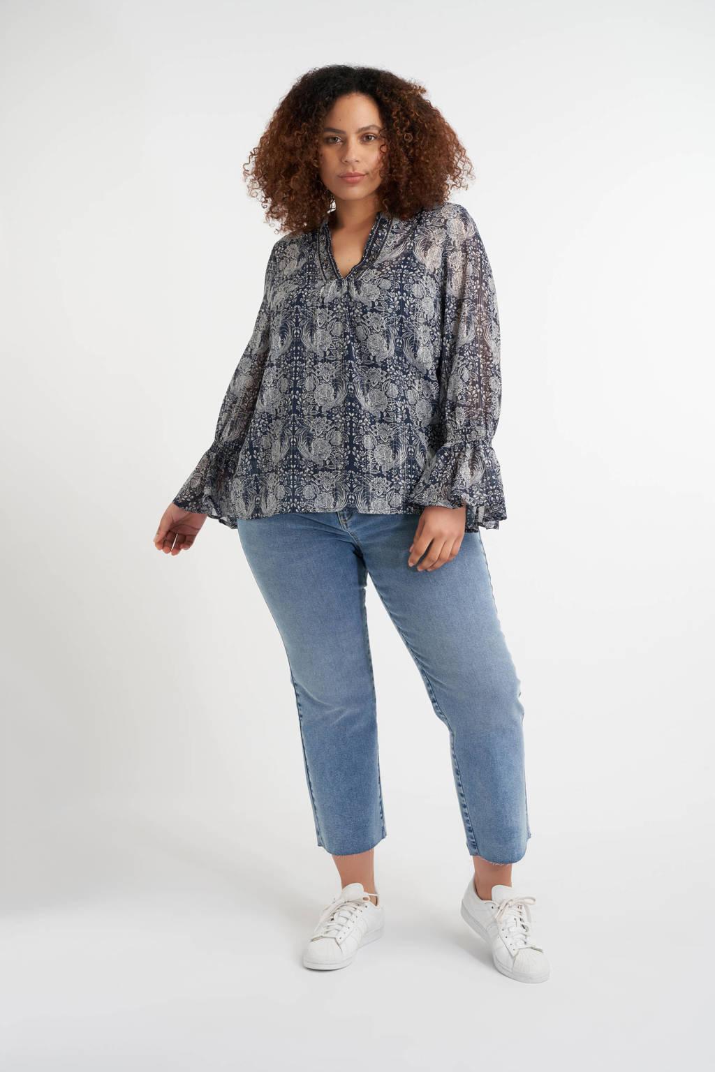 MS Mode gebloemde semi-transparante top donkerblauw/wit, Donkerblauw/wit