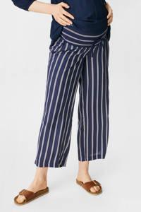 C&A Yessica gestreepte wide leg zwangerschapspalazzo broek donkerblauw/wit, Donkerblauw/wit