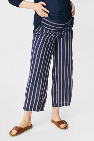gestreepte wide leg zwangerschapspalazzo broek donkerblauw/wit