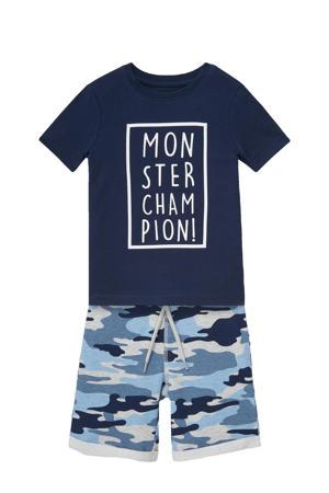 T-shirt + sweatshort blauw