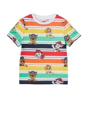 Paw Patrol T-shirt met all over print geel/groen/rood