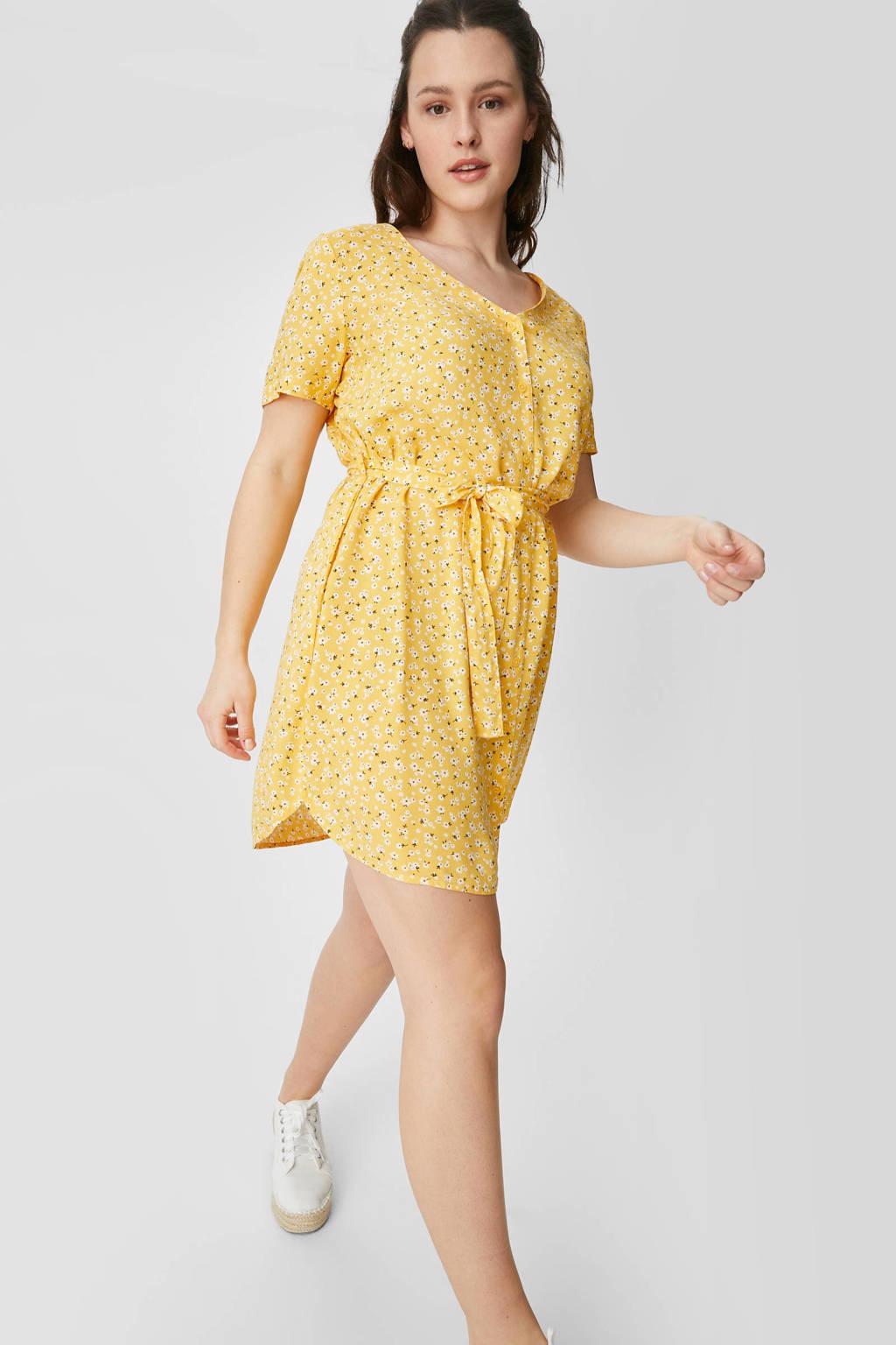 C&A XL Clockhouse gebloemde jurk geel, Geel