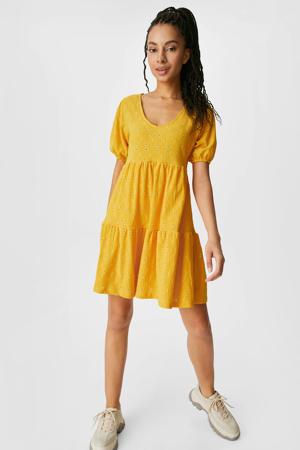 A-lijn jurk met volant geel