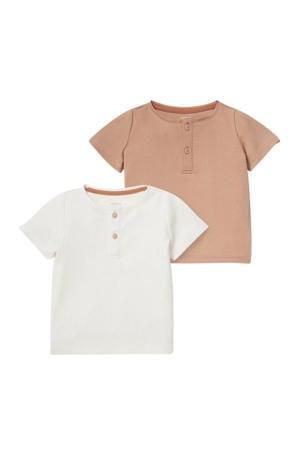 baby basic T-shirt - set van 2 bruin/off white